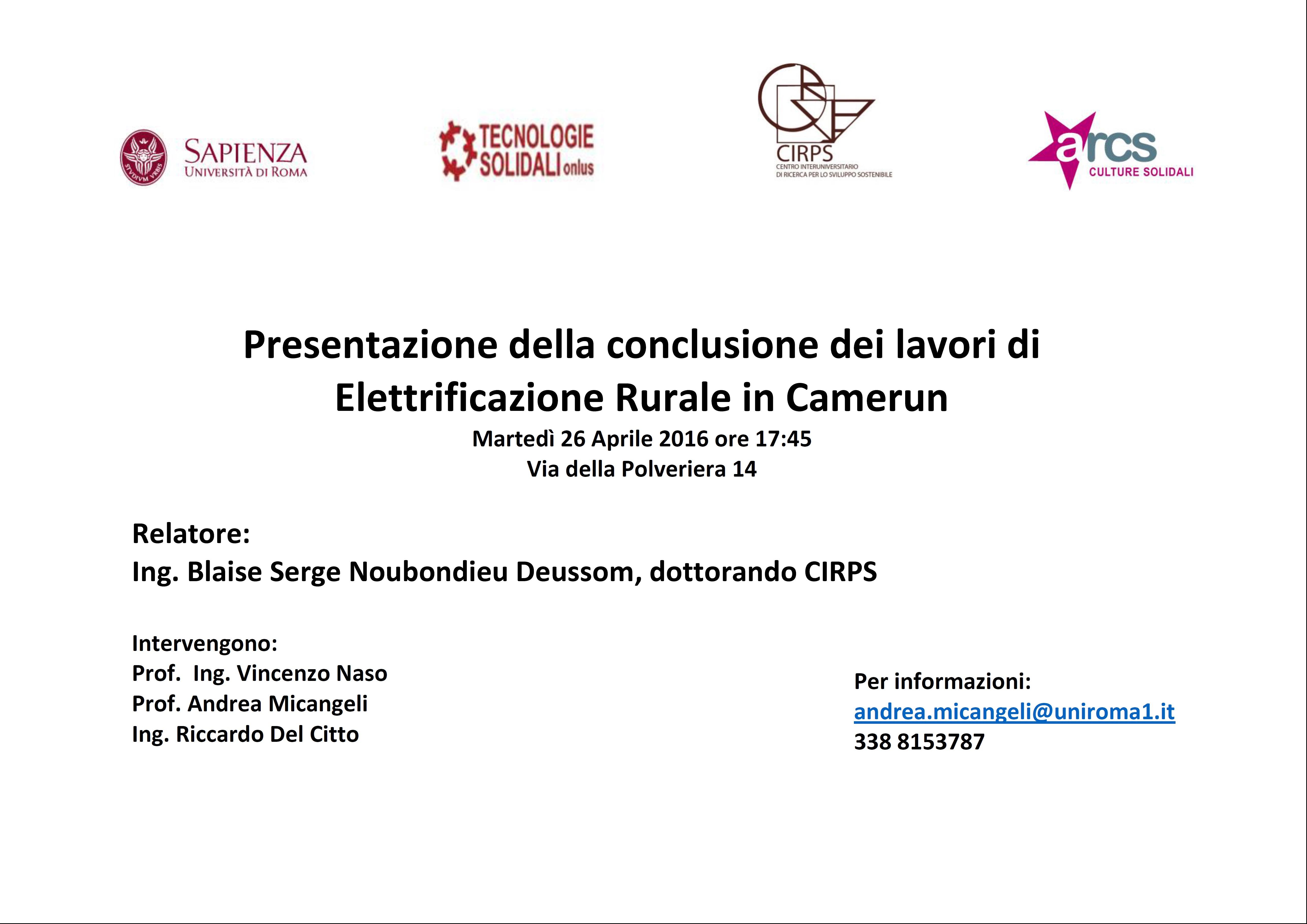 Presentazione lavori di elettrificazione rurale in Camerun