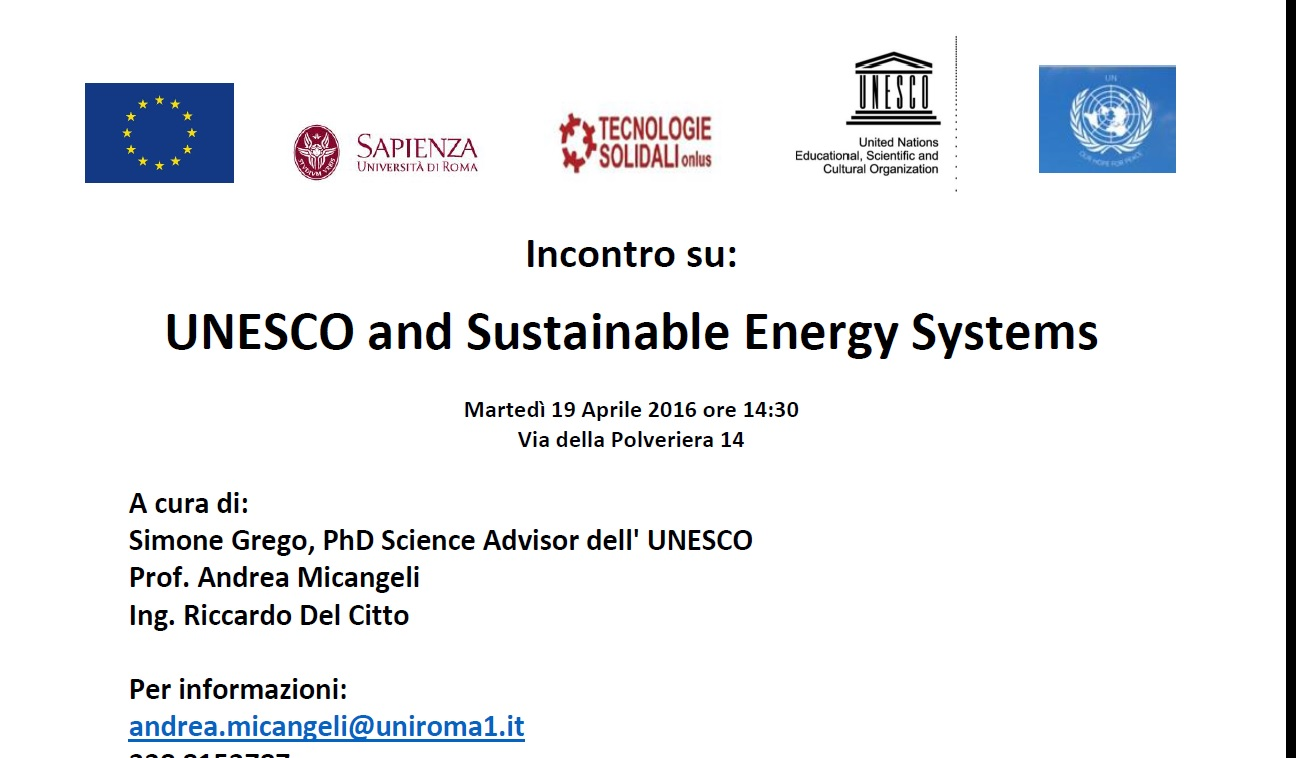 Incontro: Unesco and sustainable energy systems