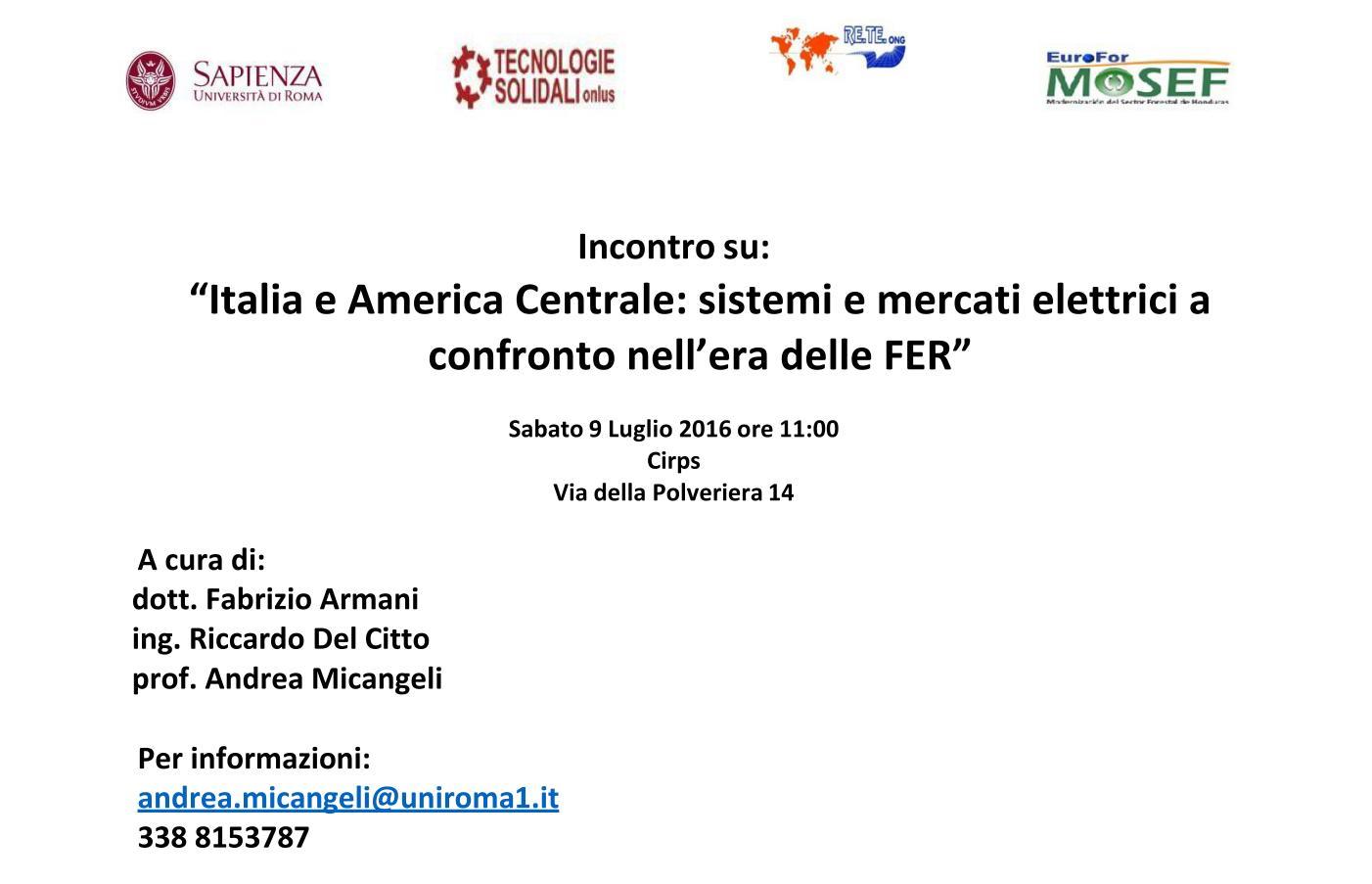 """Incontro formativo: """"Italia e America Centrale: sistemi e mercati elettrici a confronto nell'era delle FER""""."""