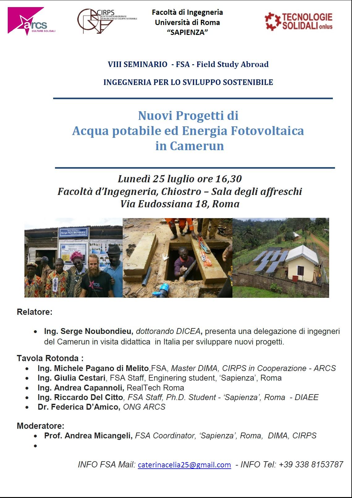 Nuovi Progetti di  Acqua potabile ed Energia Fotovoltaica  in Camerun
